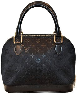 Louis Vuitton Evening Satin Monogram Luxury Rare Mini Alma Tote in Black/ Noir