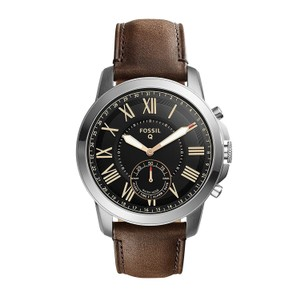 Fossil Fossil Men's Grant Silver/Brown Leather Hybrid Smart Watch FTW1156