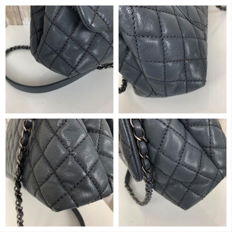 Chanel Classic Flap Coco Handle Small 2015 Quilted Caviar Rh Gray ... a4070cd00f2ca