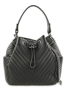 ce828ac22320 Chanel Shoulder Bag. Chanel Drawstring Bucket Chevron Small Chain Black  Deerskin Leather ...
