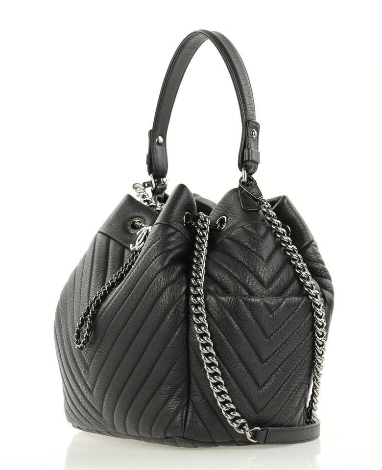 c302a37cfe4e Chanel Drawstring Bucket Chevron Small Chain Black Deerskin Leather ...