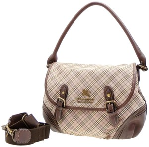 Burberry Blue Label Nova Novacheck Plaid Haymarket London Satchel in Brown