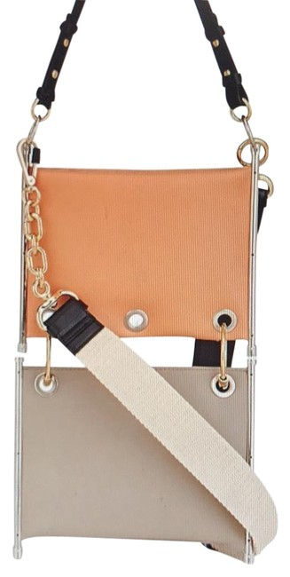 Item - Roy Double Layer Brown/Green Lambskin Leather Cross Body Bag
