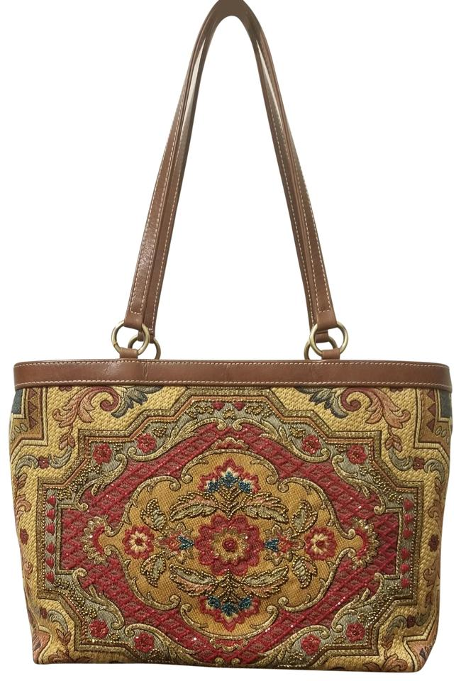 0c4a46347446 Isabella Fiore Beaded Handbag Wine and Mustard Fabric Leather ...