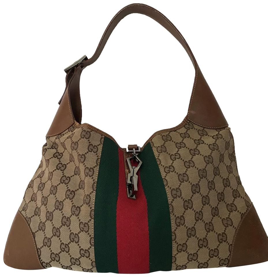 a1cef4cef98 Gucci Jackie Green Red Brown British Tan Leather and Jacquard Hobo ...