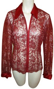 Cache Vintage Lace Blouse Metallic 001 Top red