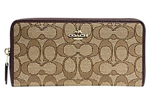 Coach COACH ACCORDION ZIP WALLET Signature canvas 54633 NWT