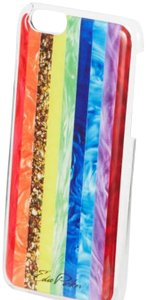Edie Parker Rainbow Phone Case for iPhone. Rainbow pearlescent and confetti stripes.