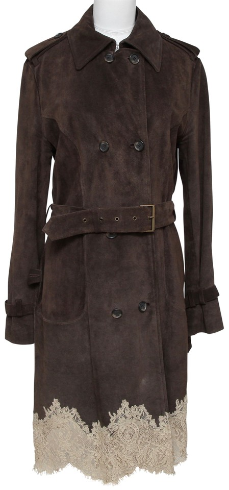 ed0f6d61226a RED Valentino Brown Jacket Suede Lace Double Breasted 44 Coat Size 10 (M)  84% off retail