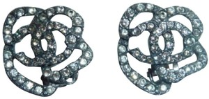 Chanel Chanel Rare Gunmetal CC Camellia Earrings