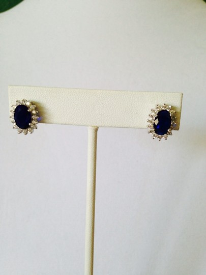 Other Blue Sapphire Simulant & Cubic Zirconia Earrings Image 2