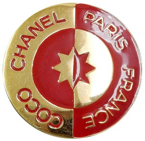 Chanel Chanel Rare Coco Gold & Red Vintage Round Pin / Brooch
