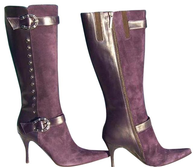 Item - Purple Couture Suede and Leather New Silver Horseshoe Boots/Booties Size US 7.5 Regular (M, B)