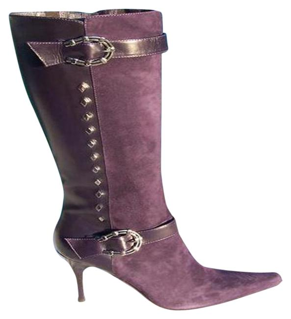 Item - Purple Couture Suede and Leather New Silver Horseshoe Boots/Booties Size US 6.5 Regular (M, B)