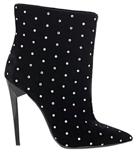 Saint Laurent Made In Italy Luxury Designer Ankle Crystal Embellished Pointed Toe Black Boots
