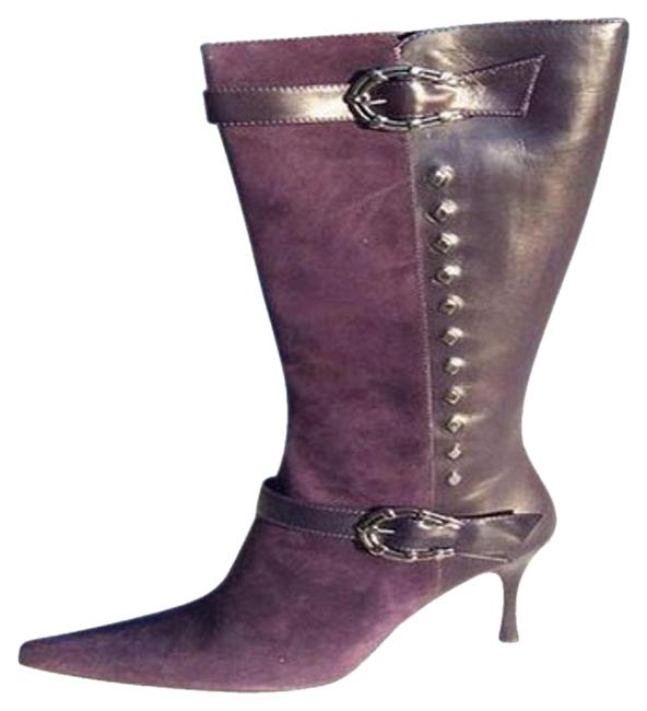 Item - Purple Couture Suede and Leather New Silver Horseshoe Boots/Booties Size US 6 Regular (M, B)
