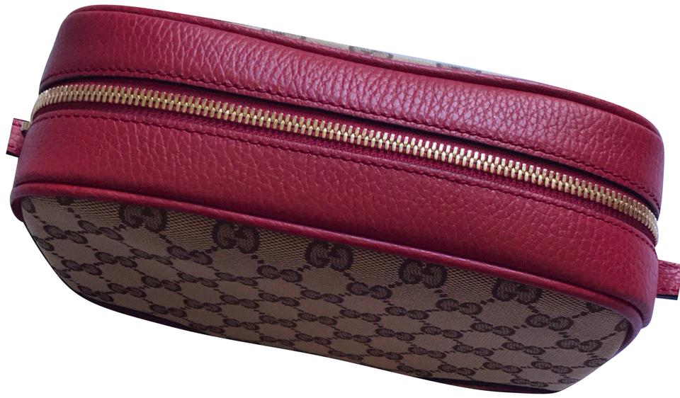 feac60e1aa2 Gucci Bree 449413 Gg Disco Crossbody Red   Ebony Beige Calf Leather ...