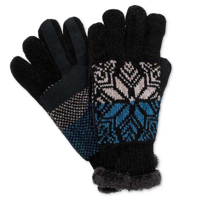 Isotoner Black Split Snowflake Chenille Smartouch Microluxe Gloves One Size Isotoner Black Split Snowflake Chenille Smartouch Microluxe Gloves One Size Image 1
