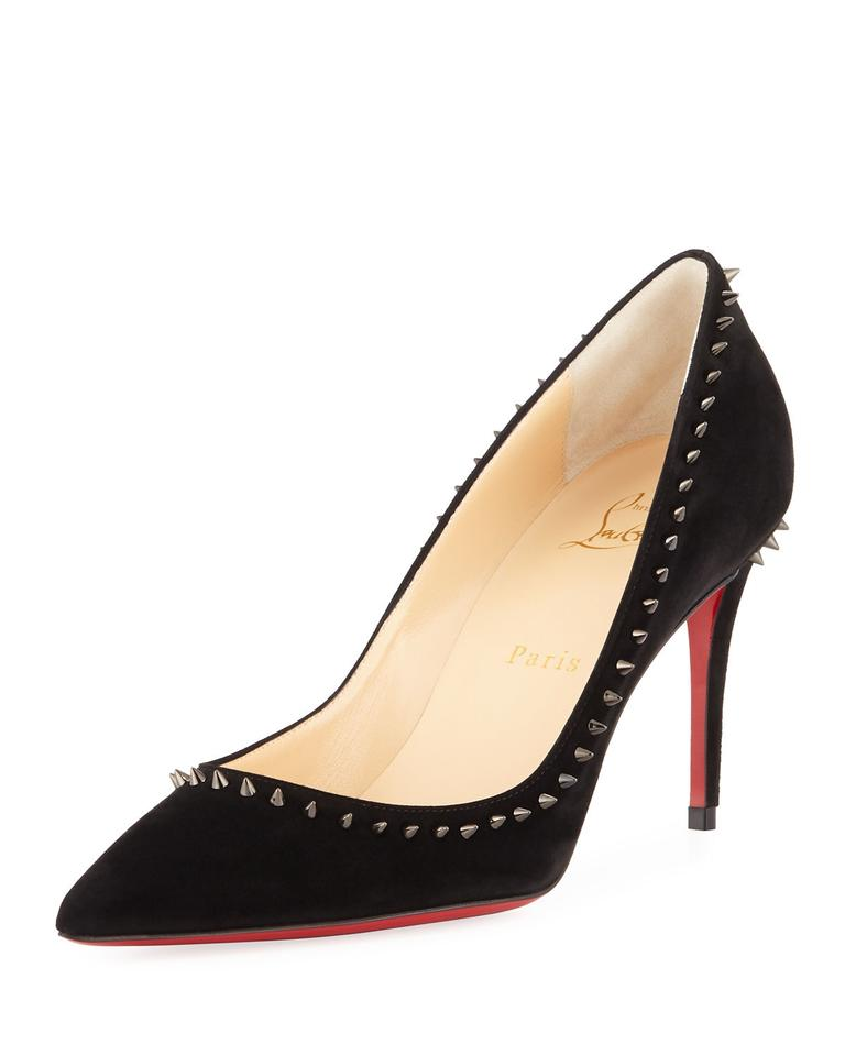 d5094a2bcfcc Christian Louboutin Black Anjalina 85 Spiked Studded Suede Pumps ...