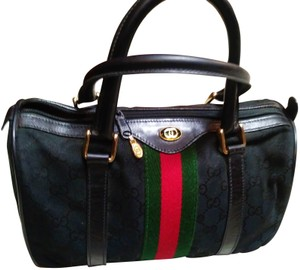 Gucci No Fading No Peeling Inside Material Satchel in BLACK RED GREEN