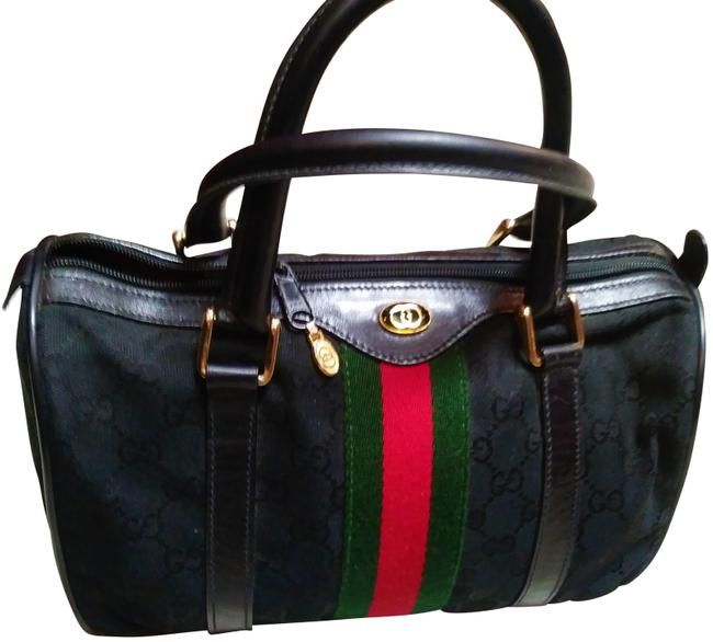 Gucci Speedy Sherry Line Limited Edition Monogram Black Red Green Leather and Canvas Satchel Gucci Speedy Sherry Line Limited Edition Monogram Black Red Green Leather and Canvas Satchel Image 1