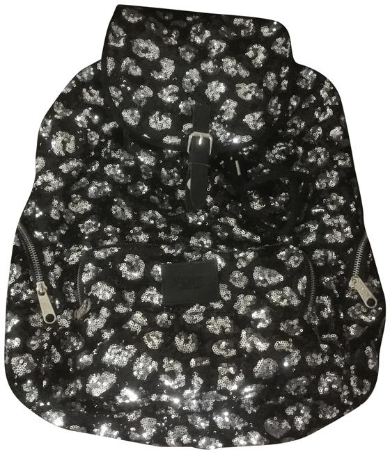 Item - Pink Blingy Cheetah Black/Silver Sequins Sequin/Imported Cotton Canvas Backpack