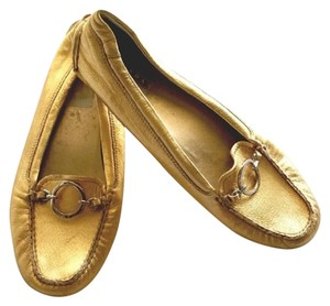 Prada Leather Leather Loafers Gold Flats