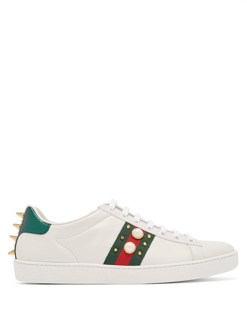Gucci New Ace Stud-embellished Leather Trainers Sneakers Size EU 38.5 (Approx. US 8.5) Regular (M, B) Gucci New Ace Stud-embellished Leather Trainers Sneakers Size EU 38.5 (Approx. US 8.5) Regular (M, B) Image 1