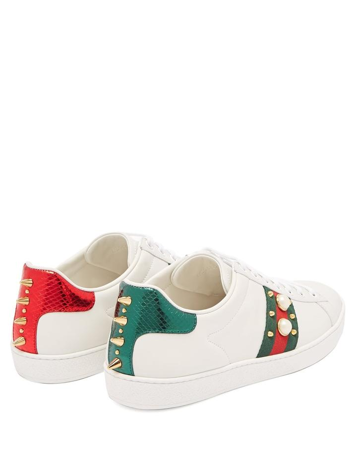 896ba3ea1 Gucci New Ace Stud-embellished Leather Trainers Sneakers Size EU ...