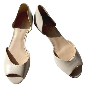 Nine West Peep Toe Flats Cream Wedges