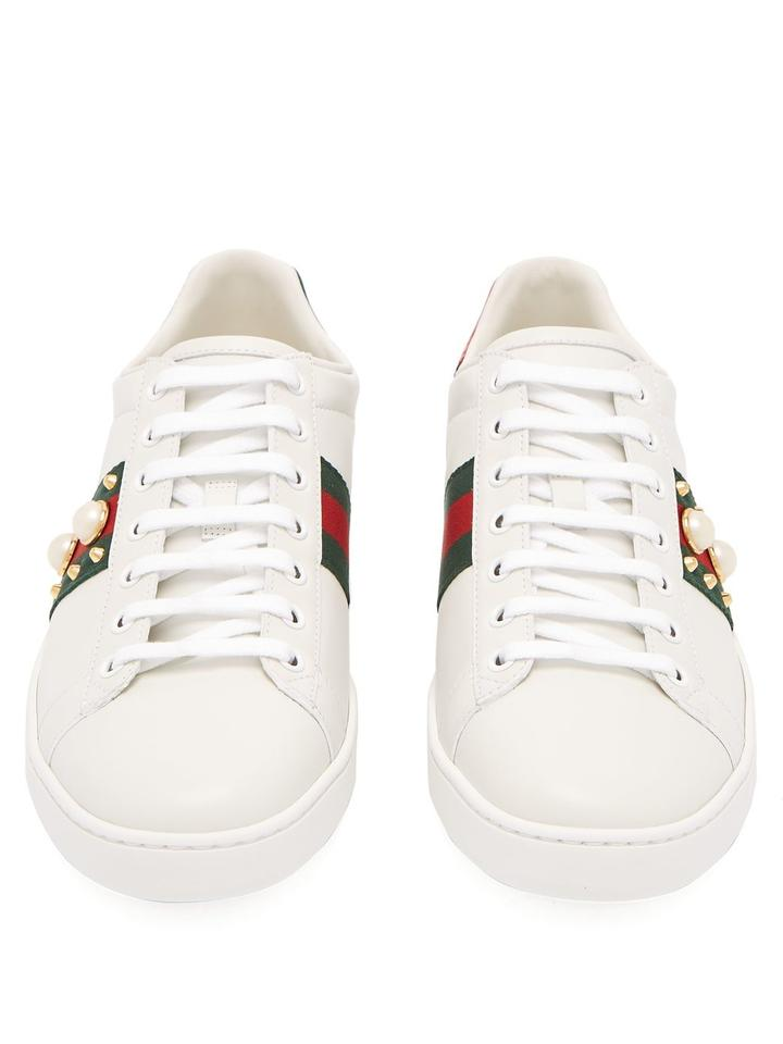 04855492128 Gucci White Pearl Stud New Ace Sneakers Size EU 39 (Approx. US 9 ...