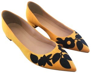 J.Crew Leather Embroidered Floral Slip-on Yellow Flats