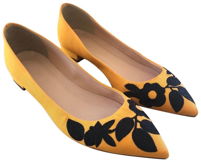 Item - Yellow Floral Embroidered Pointed Leather Flats Size US 7.5 Regular (M, B)