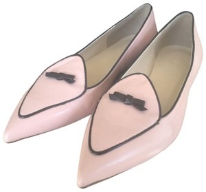 J.Crew Loafers Bow Leather Pointed Toe Pink Flats