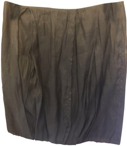 Gunex Blouson Pleated Silk Skirt Black