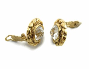 Chanel CHANEL 1970s Vintage Sparkling Diamonte Crystal Clip Earrings