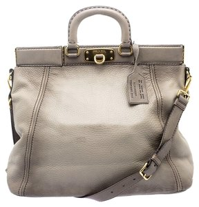 Prada Nylon Leather Posh Tote in Gray