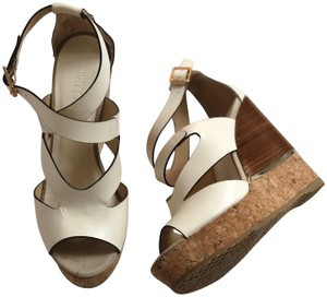 Jimmy Choo white tan brown Wedges