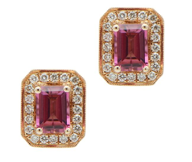 Pink Tourmaline with Halo In Rose Gold Studs Earrings Pink Tourmaline with Halo In Rose Gold Studs Earrings Image 1