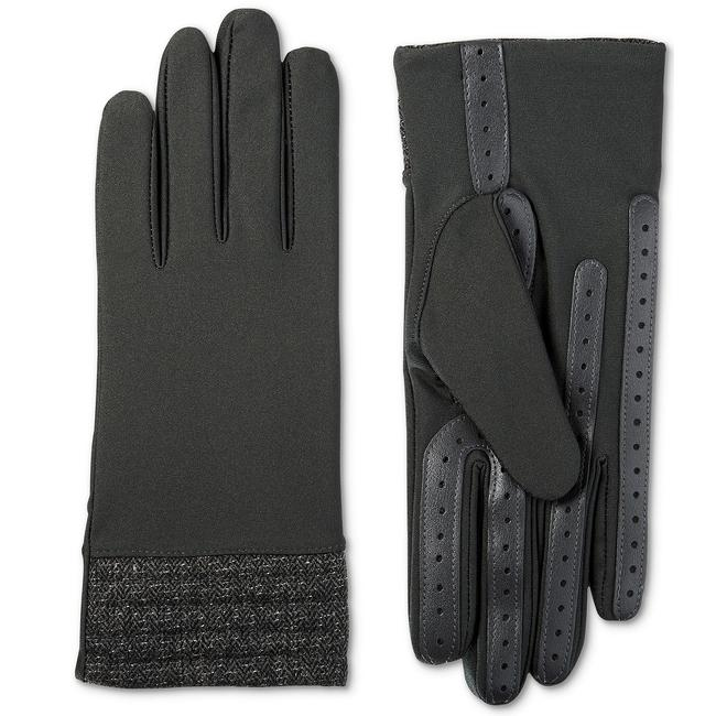 Isotoner Charcoal Gray Stretch Herringbone Hem Smartouch Lined Womens Tech Gloves S/M Isotoner Charcoal Gray Stretch Herringbone Hem Smartouch Lined Womens Tech Gloves S/M Image 1