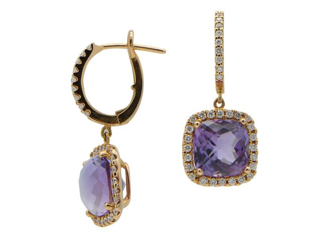 Purple Amethyst with Halo In Rose Gold Drop Earrings Purple Amethyst with Halo In Rose Gold Drop Earrings Image 1