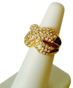 Cross-Cross Design Pave' Cubic Zirconia Ring, Size 6.5