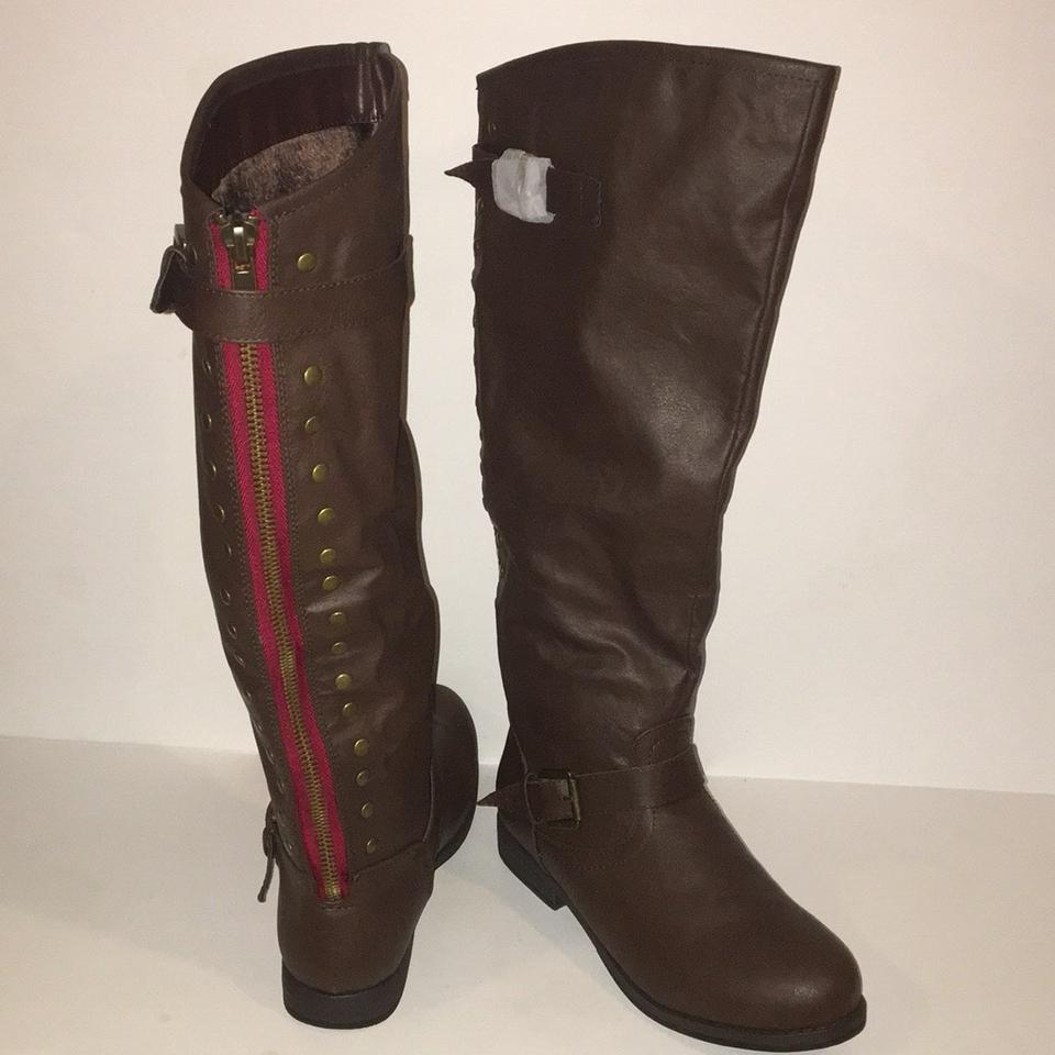 9d232a6f29c Journee Collection Brown Spokane Wide Calf Riding Boots Booties Size US 11  Regular (M