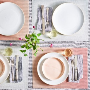 Chilewich Peach White Glow Pink- Place Mats Set Of Two New