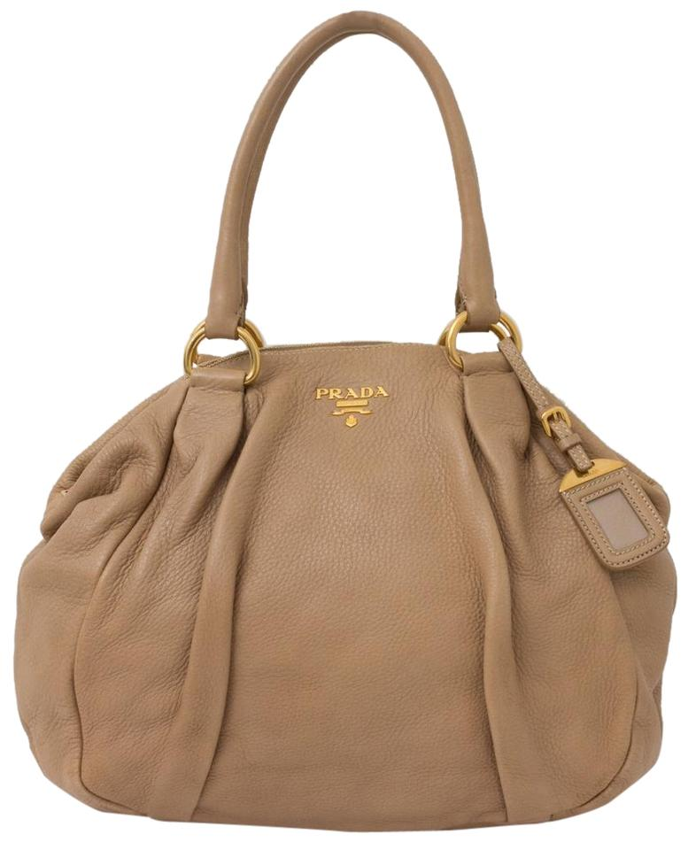 Prada Cervo Deerskin Pleated Handbag Beige Leather Shoulder Bag ... ef12a81aa0f9e