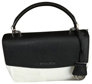 MICHAEL Michael Kors Leather Satchel in Black/White