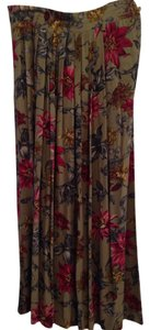 Jones New York Midi Pleated Skirt Olive, fuschia, yellow, grey, white