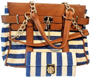 Charming Charlie Tote in Brown, blue/white stripes