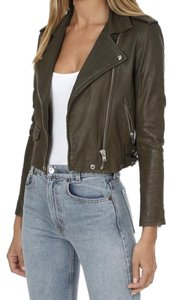 IRO Ashville Olive Biker Lambskin Green Leather Jacket