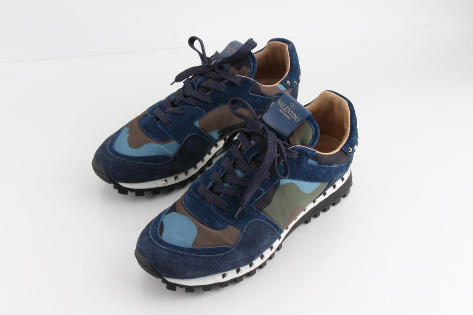 daff17f3c7ae9 Valentino Multicolor Rockstud Mens Camo Blue Green Stud Lace Low Top  Trainer Shoes Image 0 ...